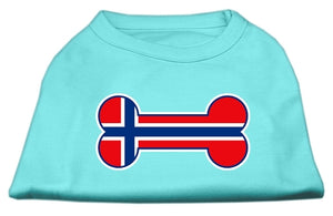 Bone Shaped Norway Flag Screen Print Shirts Aqua XXXL(20)