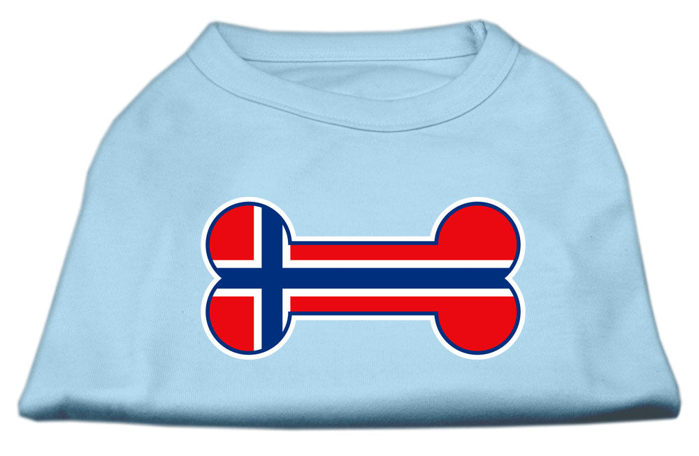 Bone Shaped Norway Flag Screen Print Shirts Baby Blue L (14)