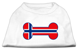 Bone Shaped Norway Flag Screen Print Shirts White S (10)