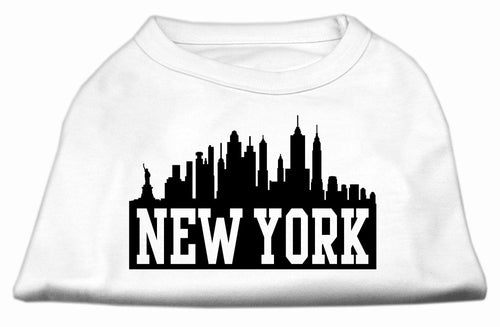 New York Skyline Screen Print Shirt White Lg (14)