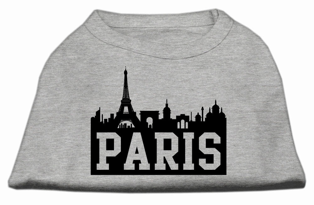 Paris Skyline Screen Print Shirt Grey XS (8)