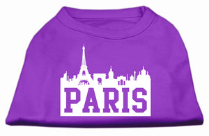 Paris Skyline Screen Print Shirt Purple XS (8)