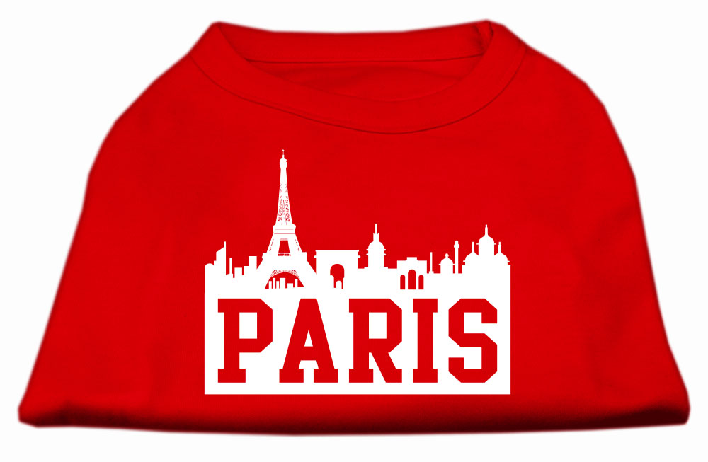 Paris Skyline Screen Print Shirt Red Med (12)