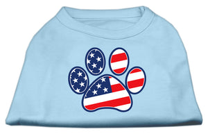 Patriotic Paw Screen Print Shirts Baby Blue XS (8)