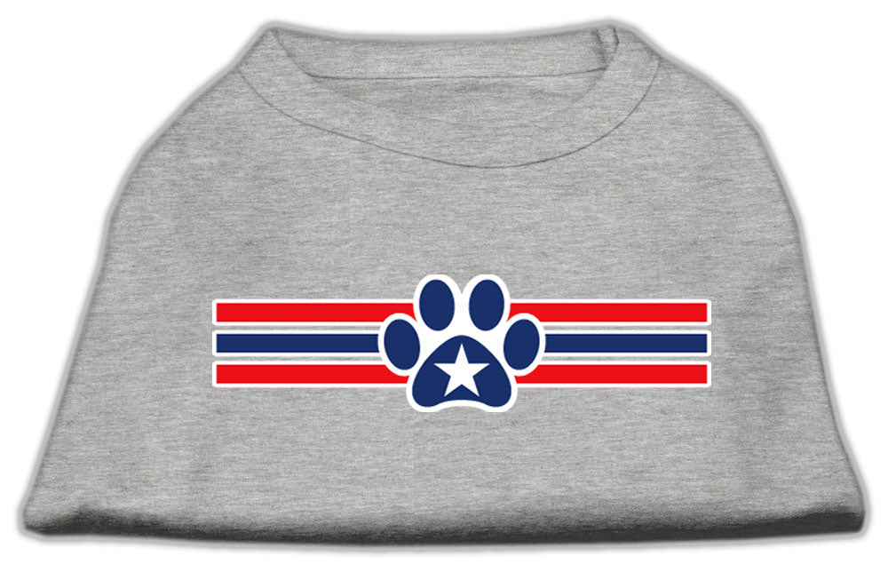 Patriotic Star Paw Screen Print Shirts Grey M (12)