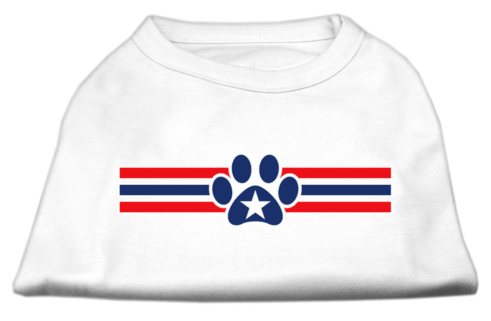 Patriotic Star Paw Screen Print Shirts White S (10)