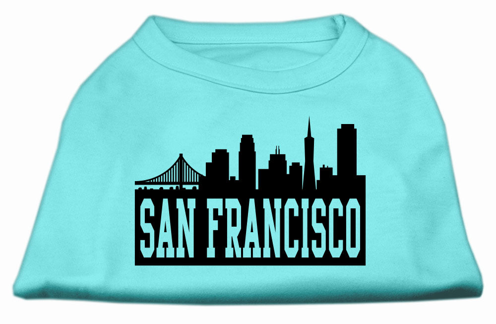 San Francisco Skyline Screen Print Shirt Aqua XS (8)