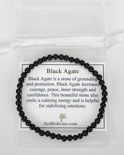Black Agate Mini 4mm Gemstone Bracelet