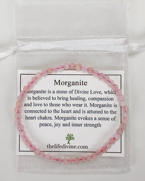 Morganite Mini 4mm Gemstone Bracelet