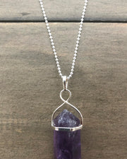 Amethyst Crystal Point Electroplate Pendant