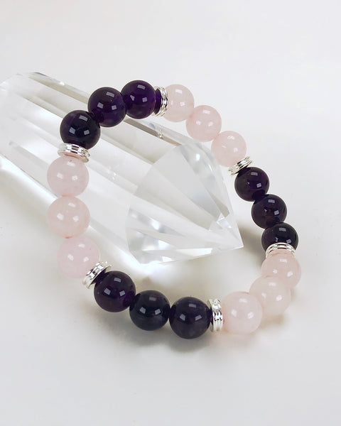 Amethyst and Rose Quartz 10mm Bracelet