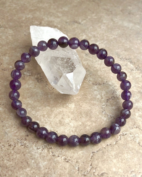 Amethyst 6mm Gemstone Bracelet