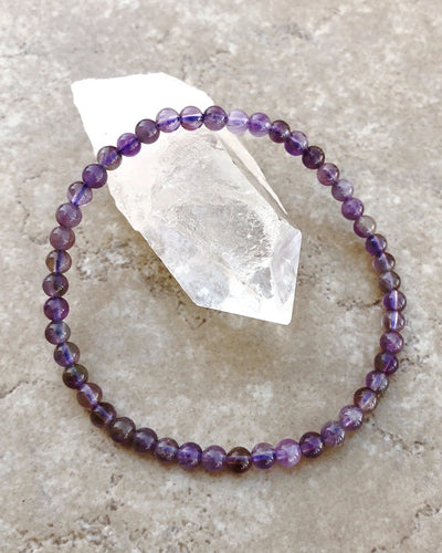 Children's Size Amethyst 4mm Gemstone Bracelet