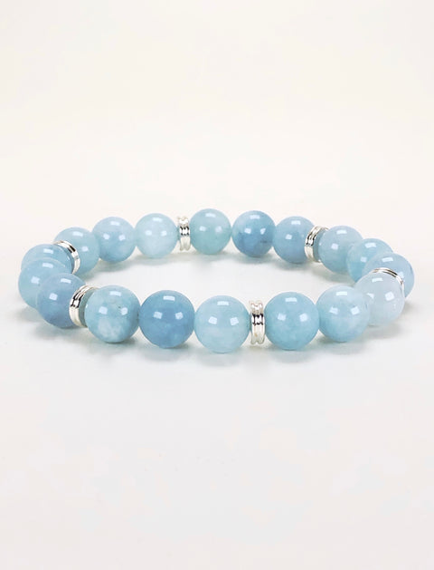 Aquamarine 10mm Gemstone Bracelet