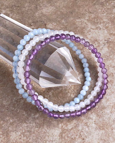 4mm Mini Gemstone Bracelet Set for Serenity and Wellness