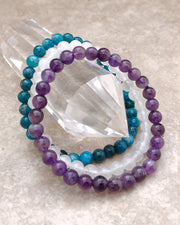 6mm Gemstone Bracelet Set for Balance and Clarity