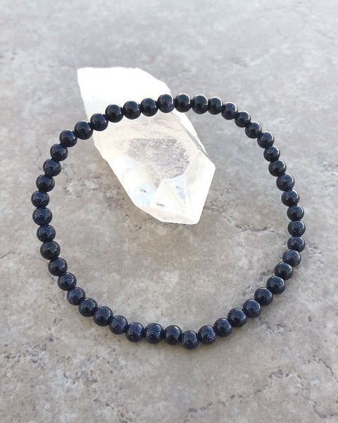 Blue Goldstone Mini Gemstone Bracelet
