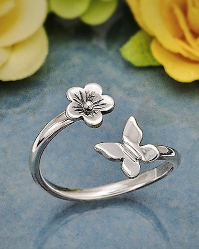 Sterling Silver Adjustable Butterfly and flower Ring