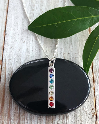 Sterling Silver Chakra Pendant with Swarovski Crystal