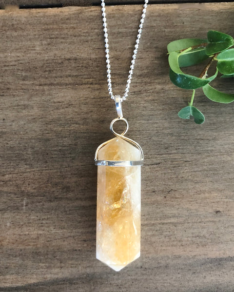 Citrine Crystal Point Electroplate Pendant
