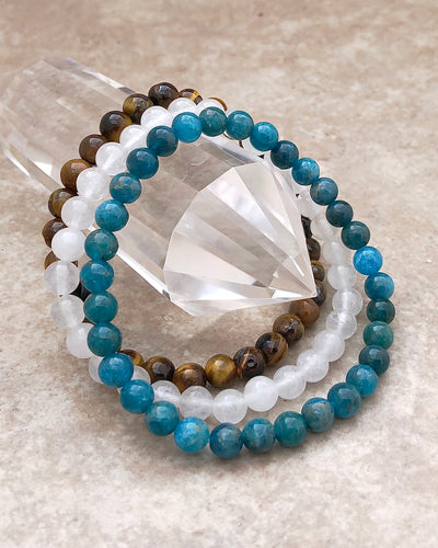6mm Gemstone Bracelet Set for Courage and Truth