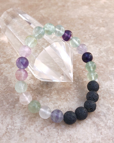Fluorite and Lava Stone 8mm Gemstone Bracelet