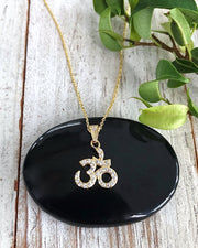 Gold CZ Om Necklace - LUMINOUS SOUL