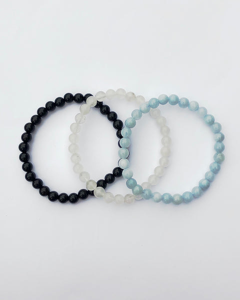 6mm Gemstone Bracelet Set for Healing and Renewal