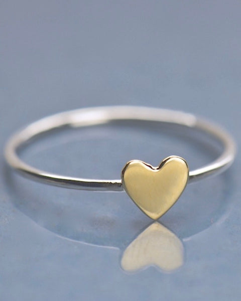 Sterling Silver Bronze Heart Ring