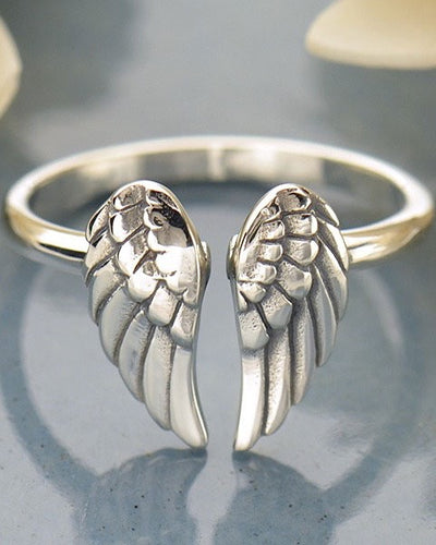 Sterling Silver Adjustable Angel Wings Ring - HEAVENLY GUIDE