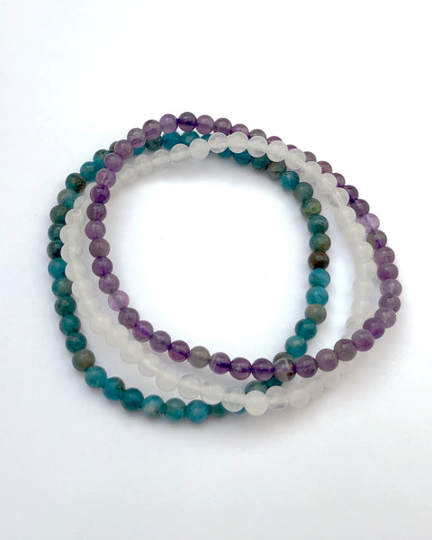 4mm Mini Gemstone Bracelet Set for Balance and Clarity