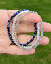 4mm Mini Gemstone Bracelet Set for Divine Intuition