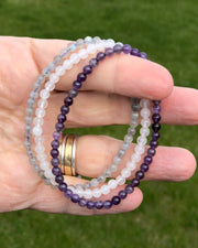 4mm Mini Gemstone Bracelet Set for Peaceful Transformation