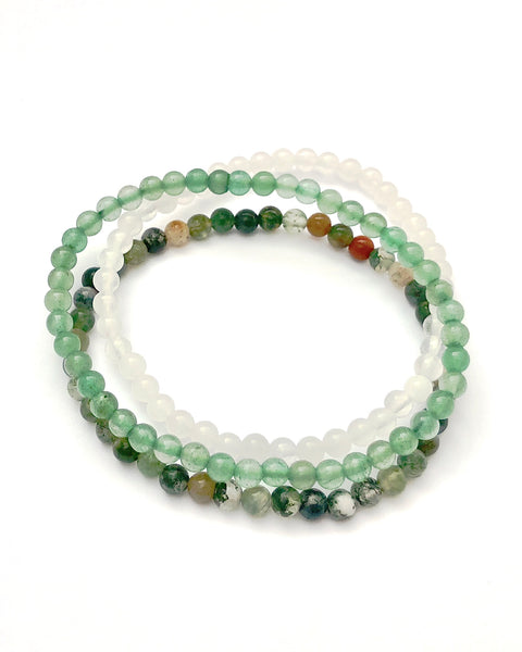 4mm Mini Gemstone Bracelet Set for Support and Grounding