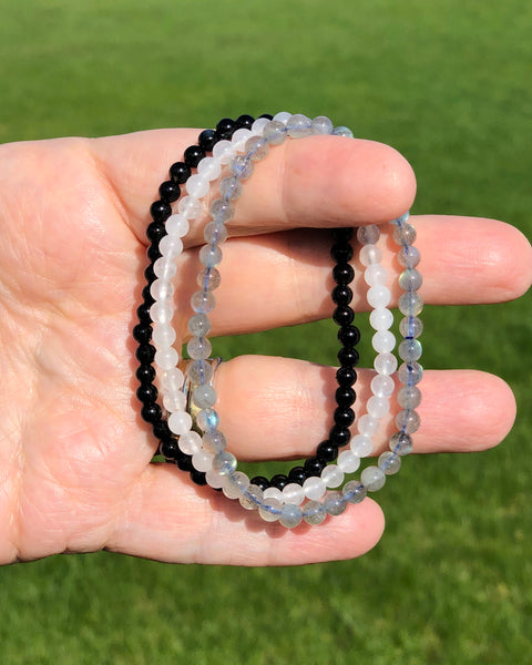 4mm Mini Gemstone Bracelet Set for Protection