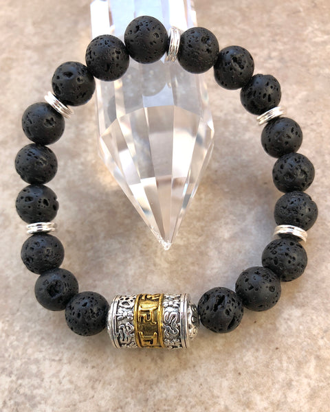 Men's Lava Stone Om Mani Padme Hum Tibetan Prayer Wheel Bracelet