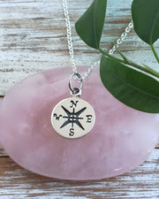 Small Silver Compass Rose Necklace - INNER GUIDANCE