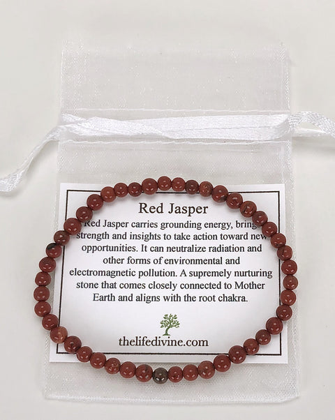 Red Jasper Mini 4mm Gemstone Bracelet