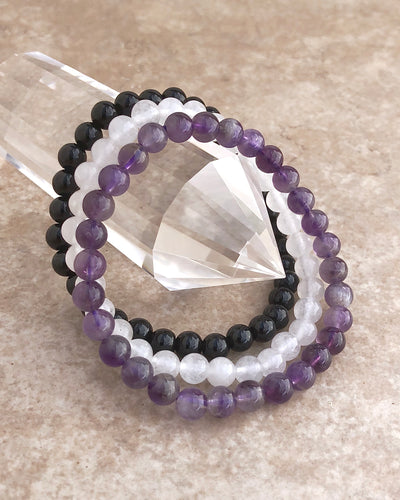 6mm Gemstone Bracelet Set for Inner Peace