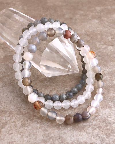 6mm Gemstone Bracelet Set for Inner Strength