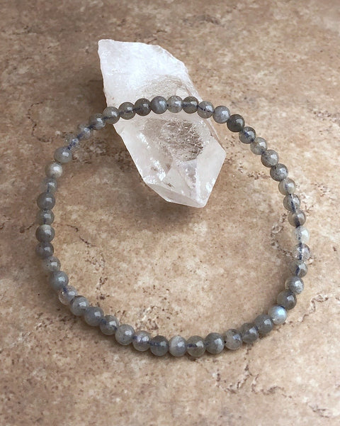 Children's Size Labradorite 4mm Gemstone Bracelet