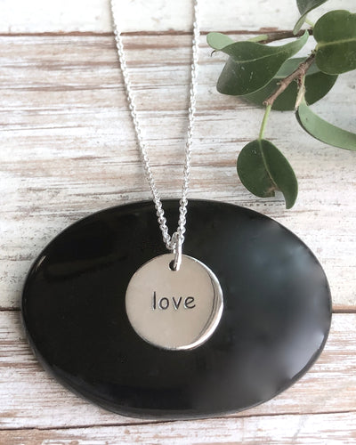 Love Silver Disk Necklace