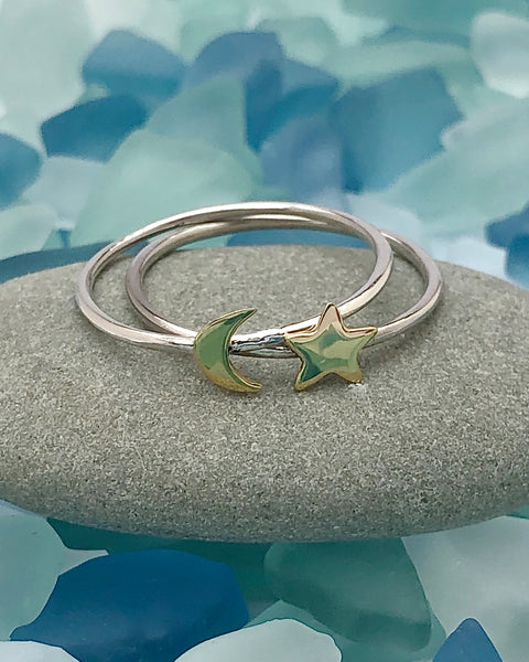 Set of 2 Sterling Silver Bronze Moon and Star Rings