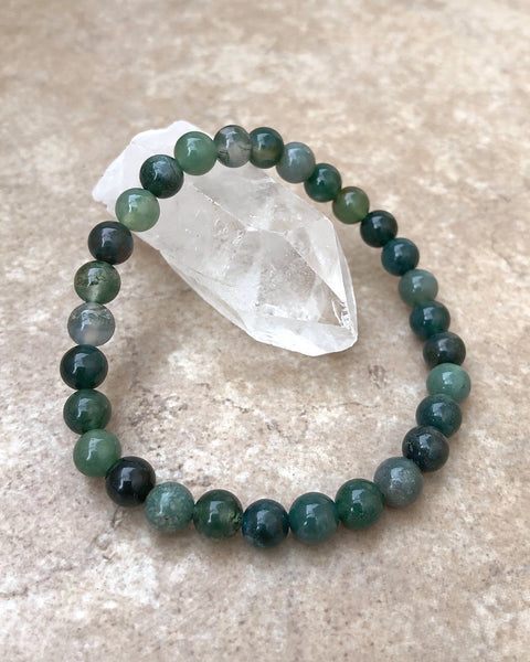 Moss Agate 6mm Gemstone Bracelet