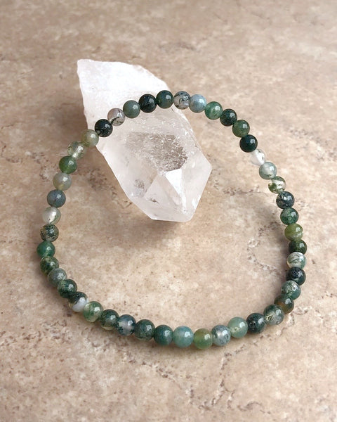 Moss Agate Mini Gemstone Bracelet