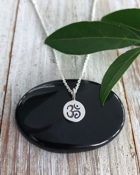 Tiny Silver Om Disk Necklace - SOUL ESSENCE