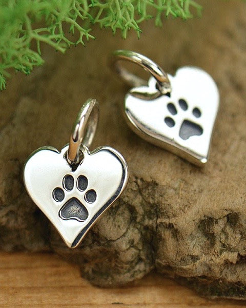 Paw Print Silver Heart Necklace - TRUE COMPANION