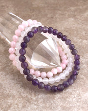 6mm Gemstone Bracelet Set for Peace and Compassion