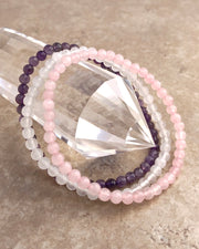 4mm Mini Gemstone Bracelet Set for Peace and Compassion