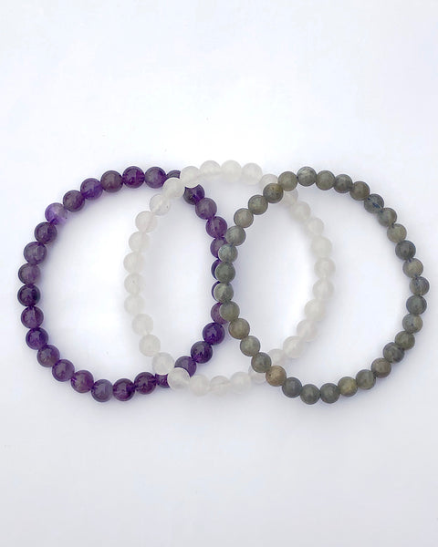 6mm Gemstone Bracelet Set for Peaceful Transformation